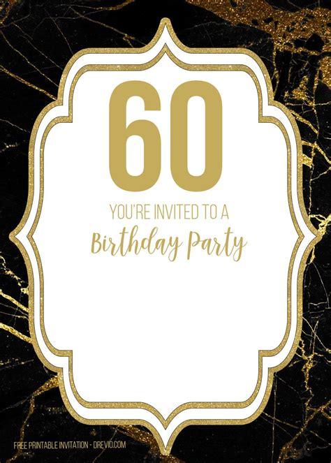 FREE Printable Black and Gold 60th Birthday Invitation