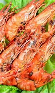 Fresh and grilled of Tiger prawns on a ...   Stock image ...