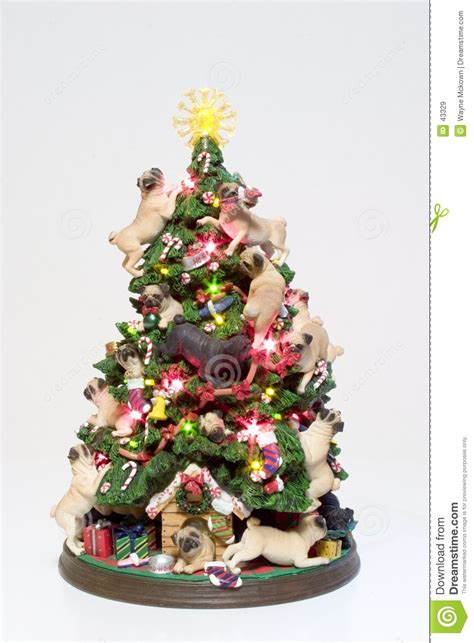 pug christmas tree pugs tree stock image image of balls 43329