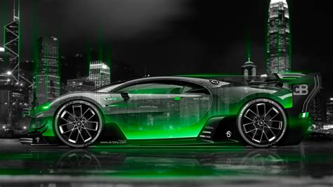 bugatti vision gran turismo side crystal city night car