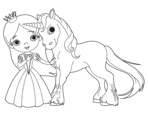 dibujo de princesa  unicornio  colorear dibujos de princesas  colorear pinterest