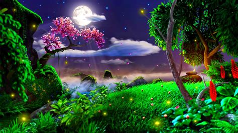 Moon Light And Stars Night Background With Trees Nature
