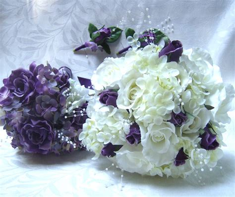 Purple Roses and Hydrangea Bridal Bouquet