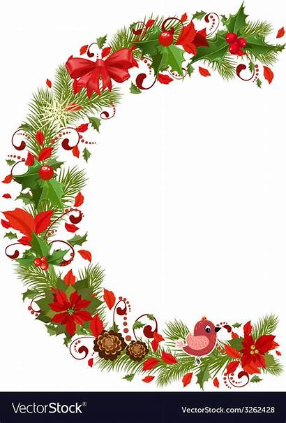 Letter Christmas Tree Floral Vector Royalty