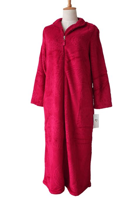 veste de chambre femme european style zipper coral velvet
