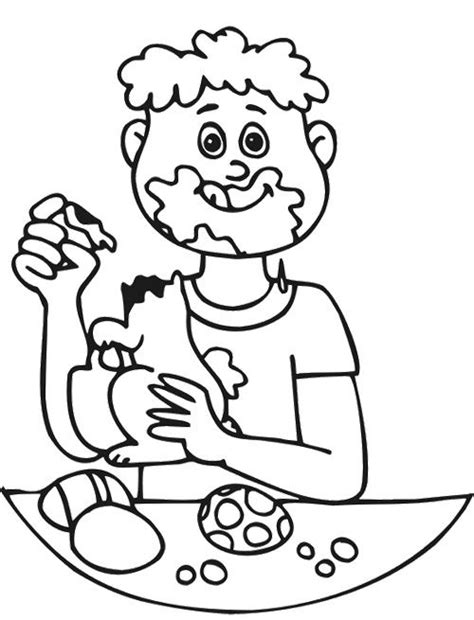 boy eating easter chocolate coloring page chocolate