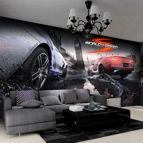 3d名车赛车跑车大型壁画 Ktv酒吧卧室背景无纺布墙纸 网吧彩绘墙纸壁画