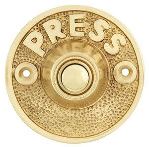 vintage press door bell button  solid cast brass house  antique hardware