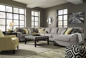 Cresson pewter raf large chaise sectional from ashley for Ashley large sectional sofa