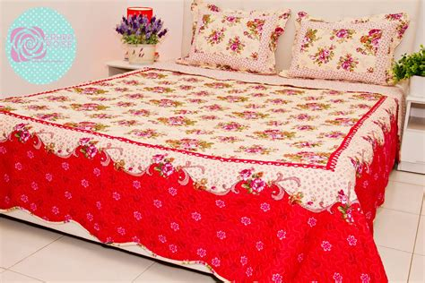 zahra rose design cotton patchwork bed sheet cotton