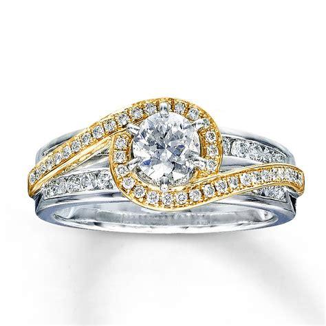 designer white  yellow gold  diamond engagement wedding ring jeenjewels
