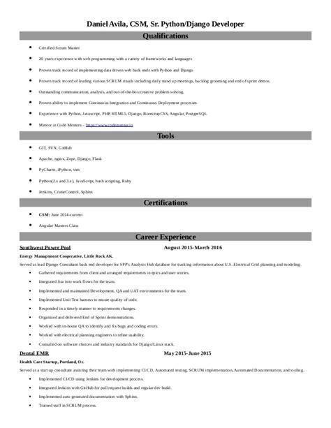 Django Developer Resume Sle by Daniel Avila Resume