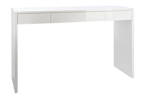 bureau ordinateur blanc laqué bureau moderne 2 tiroirs laqué en bois blanc 120x40x77cm j