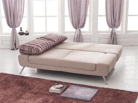 Beige Plush Textured Fabric Modern Sofa Bed Wstorage