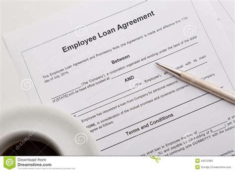 Employee Loan Agreement Stock Photo