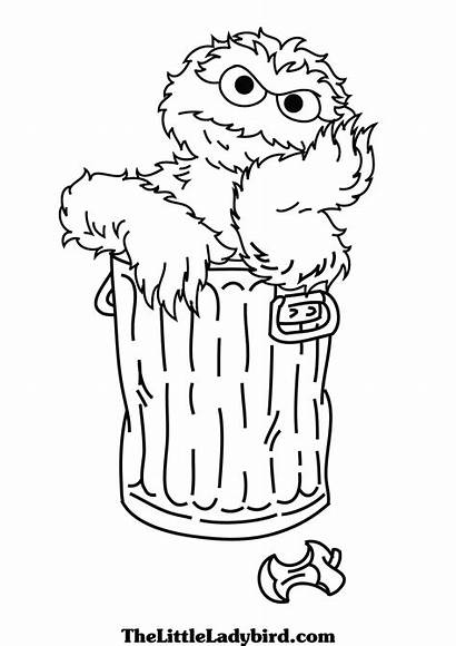 Grouch Oscar Sesame Coloring Street Drawing Elmo