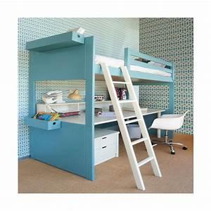 Lit Avec Bureau : lit mezzanine avec bureau liso loft sign asoral ~ Teatrodelosmanantiales.com Idées de Décoration