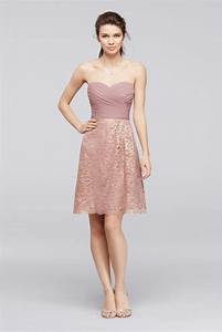 short metallic lace bridesmaid dress with pleating rose With gold short wedding dresses