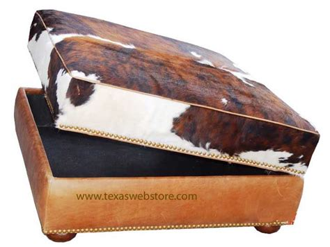 Cowhide Storage Ottoman by Cowhide Ottomans Country Western Hair On Hide Ottomans