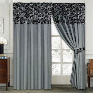 damask half flock pair of bedroom curtain living room With black drapes for bedroom