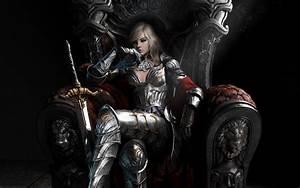 Art, Girl, Armor, Queen, Sword, Blonde, Throne, Wallpapers, Hd, Desktop, And, Mobile, Backgrounds