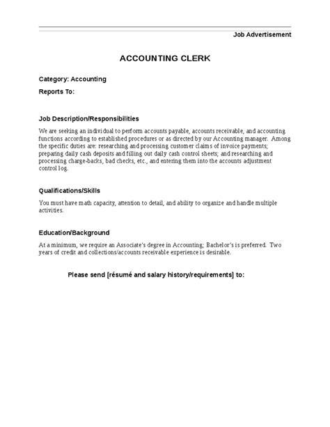 Clerk Qualifications Resume by Accounting Clerk Description Responsibilities Qualifications And Skills