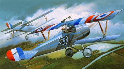 airplane painting art retro nieuport  flight aviation