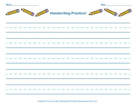 free handwriting practice paper for kids blank pdf templates