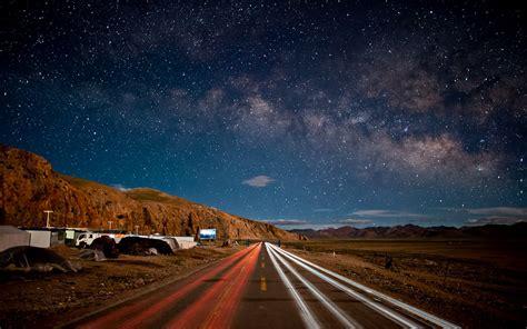night sky star mountain road china hd wallpaper