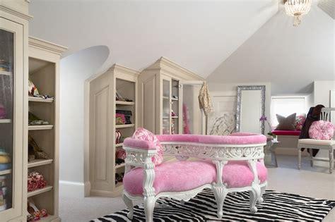 pink walk in wardrobe attic closet transitional closet martha o hara interiors