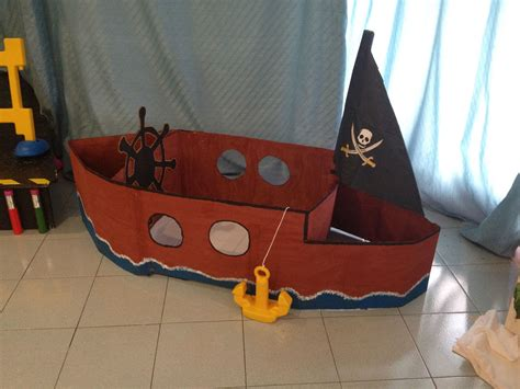 Pirate Ship Cardboard Boat by A Pirate Boat Made Out Of Cardboard As I Work Ed
