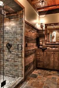 salle de bain rustique 46 idees inspirations photos With materiaux pour salle de bain