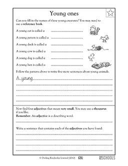 grade reading writing worksheets baby animals