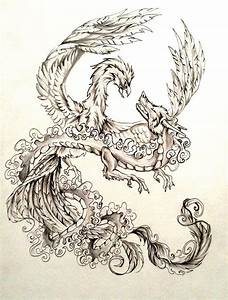 Dragon and Phoenix Tattoo Design by Lucky978 on DeviantArt