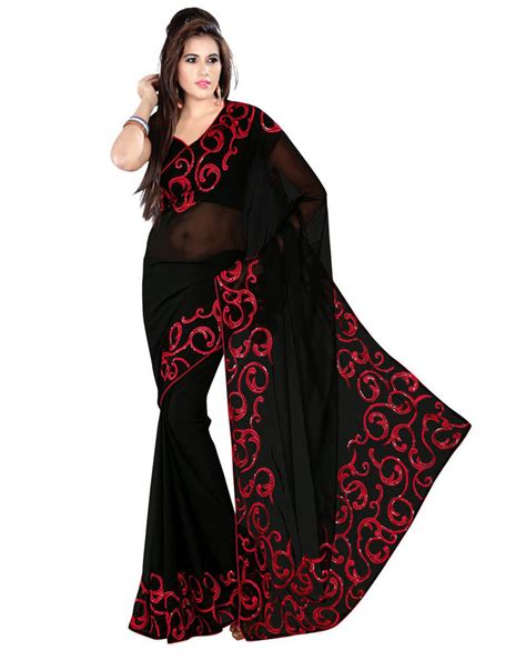 black saree blouse buy black embroidered georgette saree with blouse