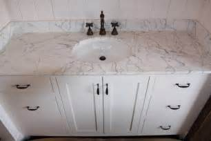 White Marble Vanity by Bathrooms Cogswellstone