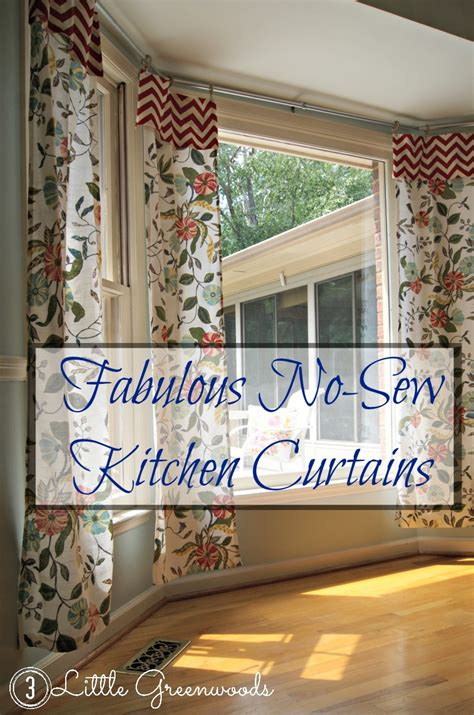 Make Drapes - no sew kitchen curtains from tablecloths