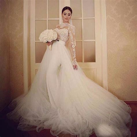E10 2017 Long Sleeves Lace Ball Gown Wedding Dresses