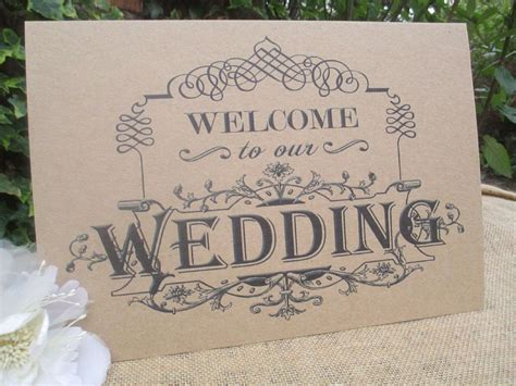 shabby chic wedding signs welcome to our wedding sign a4 size poster shabby chic kraft recycled card