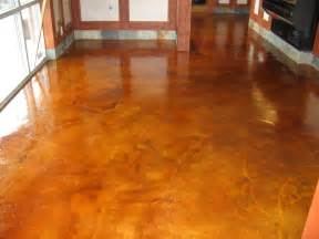 brown color painting concrete floor inside house in the hallway
