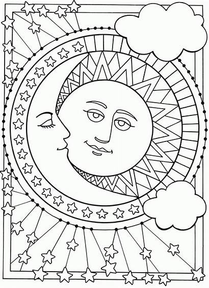 Moon Coloring Stars Pages Printable Sun Colouring