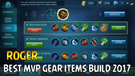 mobile legends items mobile legends roger best mvp gear items build 2017
