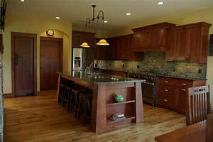 white oak residence craftsman kitchen milwaukee by With kitchen cabinets lowes with mission style wall art