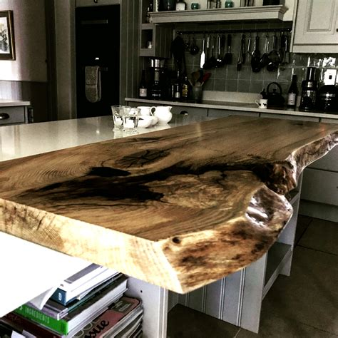 natural edge  edge oak slab breakfast bar timberdeal uk