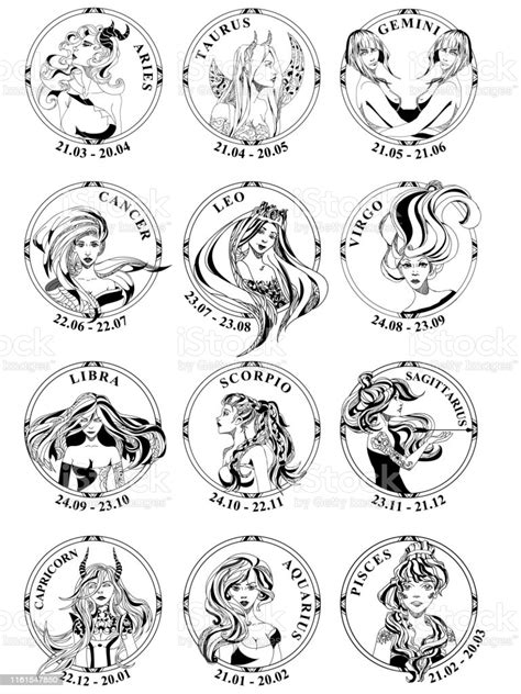 12 Signs Of Zodiac In Round Frames Vector Stock