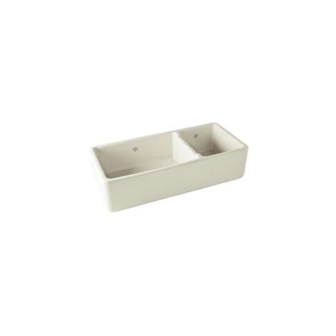 rohl rc4019pct parchment shaws 40 quot 70 30 basin farmhouse fireclay kitchen sink