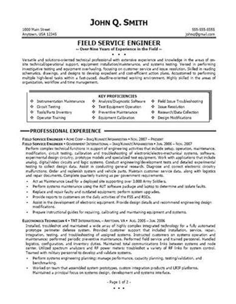 field service engineer resume source