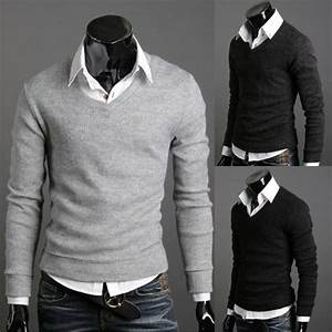 Men V Neck Sweater Mens Fashion Sweaters Fitted Men Sweater Casual Sweaters for Men | Apparels ...