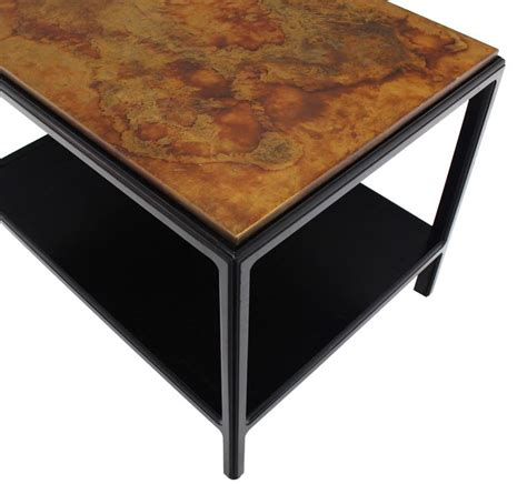 copper top end tables john stuart abonized walnut base copper top rectangular
