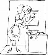 Cooking Coloring Pages Kitchen Utensils Mother Drawing Printable Sheets Getdrawings Getcolorings Ads Without sketch template